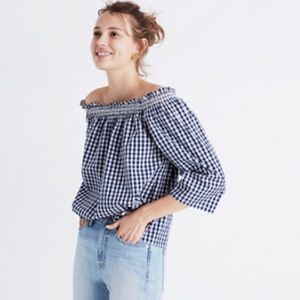 Madewell Gingham Smocked Off The Shoulder Top
